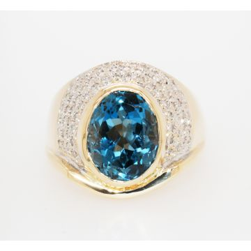 Estate 14K Yellow Gold Oval Blue Topaz Pave Diamond Men's Ring