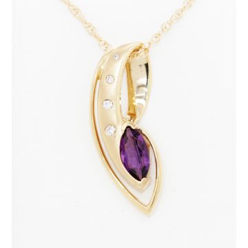 Estate 14K Yellow Gold Marquise Amethyst Diamond Pendant Necklace, 18""