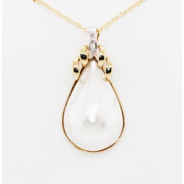 Estate 14K Yellow Gold Mabe Pearl and Diamond Pendant Enhancer Necklace, 18""