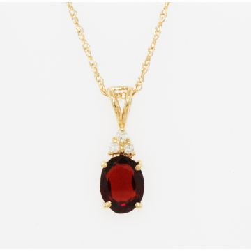 Estate 14K Yellow Gold Oval Almandite Garnet Diamond Cluster Pendant Necklace, 18""