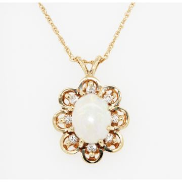 Estate 14K Yellow Gold Opal Diamond Pendant Necklace, 20""