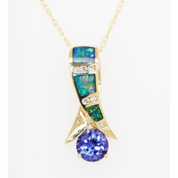 Estate 14K Yellow Gold Opal Doublet Inlay, Diamond, Tanzanite Pendant Necklace, 18""