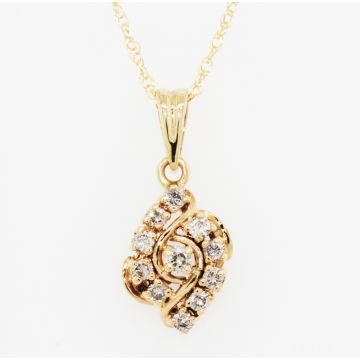 Estate 14K Yellow Gold Diamond Cluster Pendant Necklace, 18""