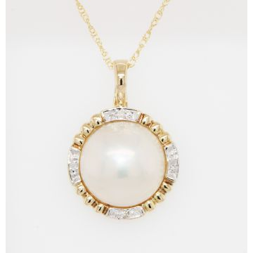 Estate 14K Yellow Gold Mabe Pearl Single Cut Diamond Pendant Necklace, 18""