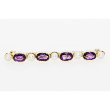 Estate 14K Yellow Gold Oval Amethyst Cultured Pearl Pin