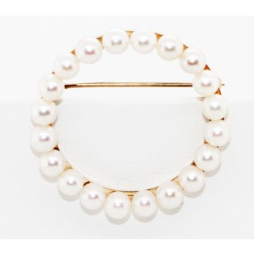 Estate 14K Yellow Gold Cultured Pearl Circle Pin