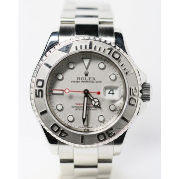 Pre-Owned Stainless Steel and Platinum Rolex Yachtmaster Watch #16622