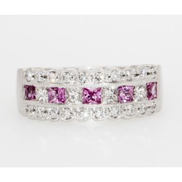 Estate 14K White Gold Princess Cut Diamond Pink Sapphire Multi Row Band