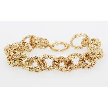 """Estate 14K Yellow Gold Oval Link Byzantine Texture Bracelet, 8"""""""