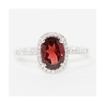 14K White Gold Oval Garnet Diamond Halo Ring