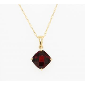 14K Yellow Gold Cushion Garnet Solitaire Pendant Necklace, 18""