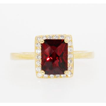 14K Yellow Gold Rectangular Cushion Garnet Diamond Halo Ring