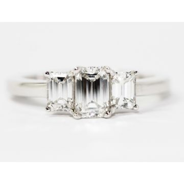 Platinum 0.78ct Center/1.52ctw Emerald Cut Three Stone Diamond Engagement Ring