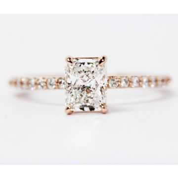 14K Rose Gold 1.04ct G-VS2 Radiant Cut Center Diamond Engagement Ring, 1.32ctw