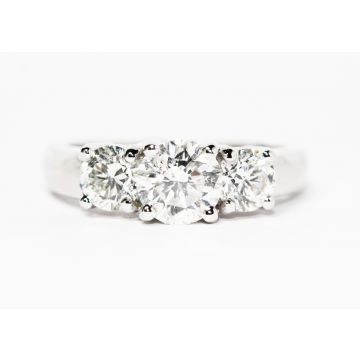 14K White Gold 1.10ct Center Diamond Three Stone Engagement Ring, 2.07ctw