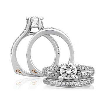 A. Jaffe 18k White Gold Split Flowering Diamond Shank Engagement Ring