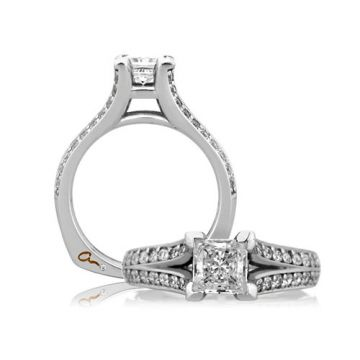 A. Jaffe 18k White Gold Split Prong Cathedral Princess Engagement Ring