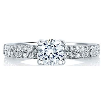 A. Jaffe 18k White Gold Straight Diamond Engagement Ring