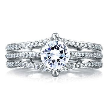 A. Jaffe 18k White Gold Open Three Row Pave Diamond Engagement Ring
