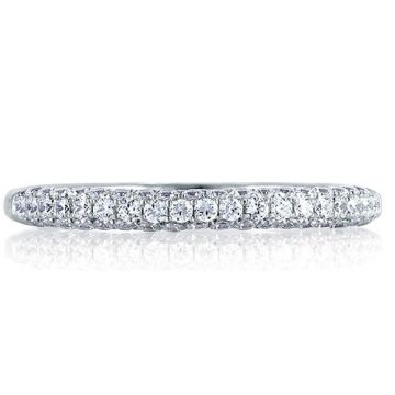 A. Jaffe 18k White Gold All Sides French Pave Signature Diamond Wedding Band