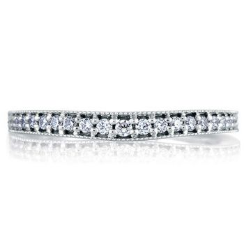 A. Jaffe 18k White Gold Pave Milgrain Signature Diamond Wedding Band