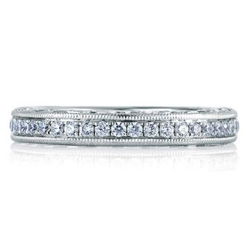 A. Jaffe 18k White Gold Royal Milgrain Diamond Wedding Band With Scroll Motif Profile