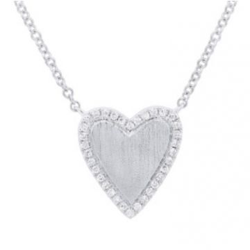 Shy Creation 14K White Gold Diamond Heart Pendant Necklace, 17""