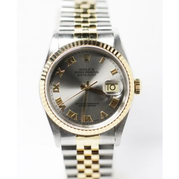 Pre-owned Stainless Steel 18K Yellow Gold Rolex Datejust Watch #16233