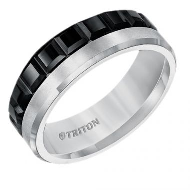Triton Multi Texture Two Tone Tungsten Carbide Wedding Band