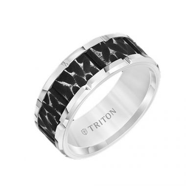 Triton Tungsten Carbide White Wedding Band