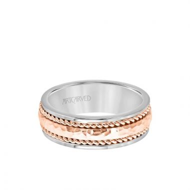 ArtCarved 7.5MM Men's Wedding Band - Hammered Finish with Rope Design and Rolled Edge in 14k White and Rose Gold