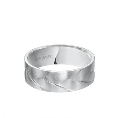 ArtCarved 7MM Men's Wedding Band - Intertwined Woven Design with Satin Finish in 14k White Gold