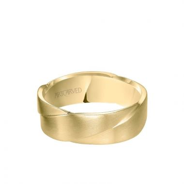 ArtCarved 7MM Men's Wedding Band - Woven Design with Satin Finish in 14k Yellow Gold