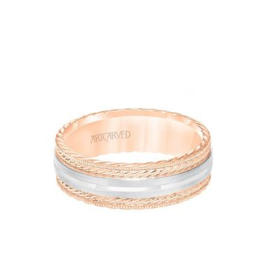 ArtCarved 7MM Men's Wedding Band - Satin Finish with Rope Details and Milgrain and Rope Edge in 14k Rose and White Gold