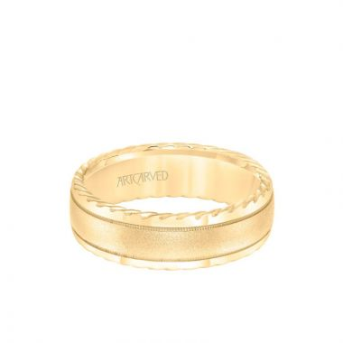 ArtCarved 7MM Men's Wedding Band - Soft Sand Finish and Round Edge with Rope Detail and Milgrain Accents in 14k Yellow Gold