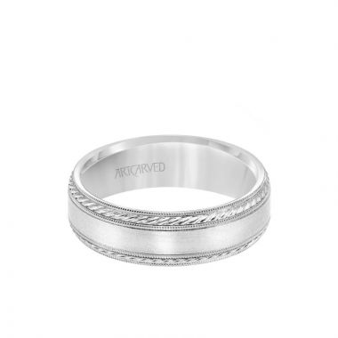 ArtCarved 6.5MM Men's Wedding Band - Satin Finish with Rope and Milgrain Accents and Milgrain Edge in 18k White Gold