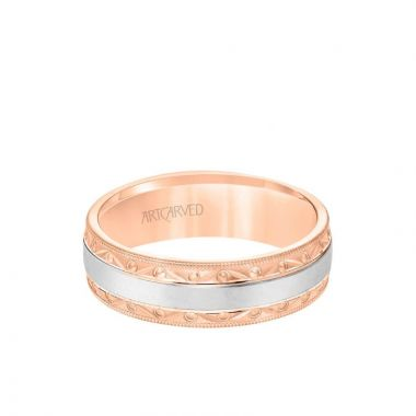 ArtCarved 6.5MM Men's Wedding Band - Wire Emery Finish with Textured Vintage Design and Milgrain Bevel Edge in 14k Rose and White Gold