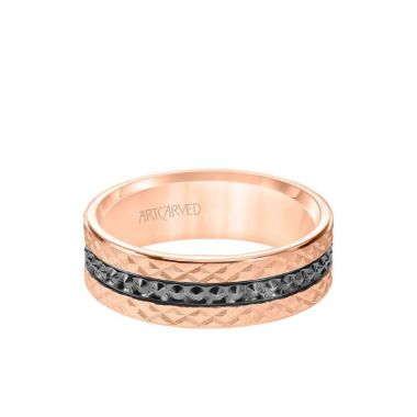 ArtCarved 7MM Men's Wedding Band - Criss Cross Satin Soft Sand Engraved Design with Textured Black Rhodium and Flat Edge in 14k Rose Gold