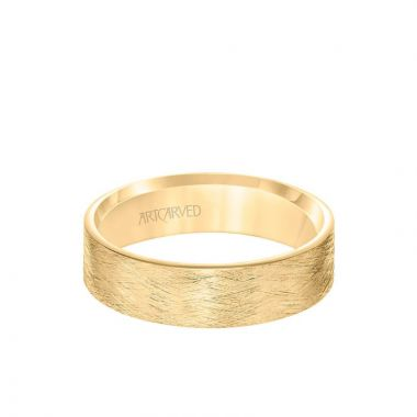 ArtCarved 6MM Men's Classsic Wedding Band - Emery Finish and Roll Edge in 14k Yellow Gold