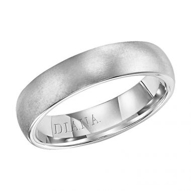 Diana 18K White Gold Comfort Fit Brush / Rolled Edge Wedding Band