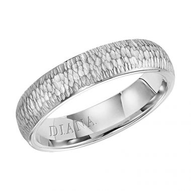 Diana 14K White Gold Comfort Fit Micro Hammer/Rolled Edge Wedding Band