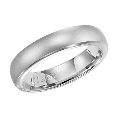 Diana 14K White Gold Comfort Fit Lustre Rolled Edge Wedding Band