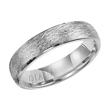 Diana 14K White Gold Comfort Fit Wire/Rolled  Edge Wedding Band