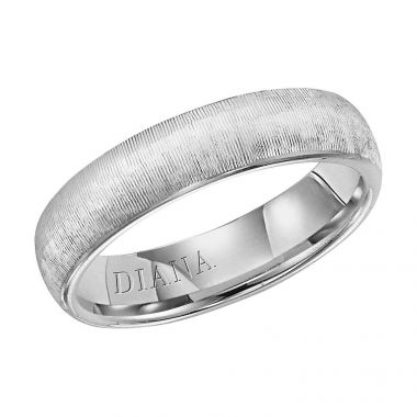 Diana 14K White Gold Comfort Fit Vertical Rolled Edge Wedding Band