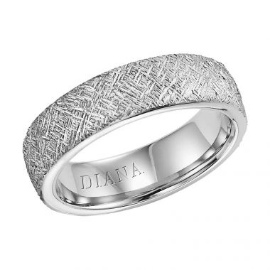 Diana 14K White Gold Comfort Fit Artisan / Rolled  Edge Wedding Band