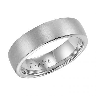 Diana 14K White Gold Comfort Fit Brush / Rolled Edge Wedding Band