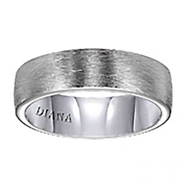 Diana 14K White Gold Comfort Fit Wire / Rolled Edge Wedding Band