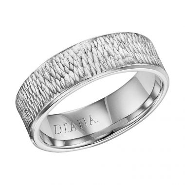 Diana 14K White Gold Comfort Fit Hammer Flat Broken Edge Wedding Band