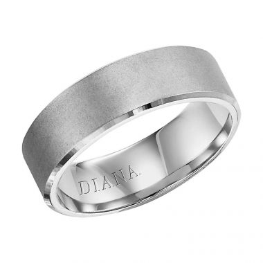 Diana 14K White Gold Comfort Fit Lustre Flat Broken Edge Wedding Band