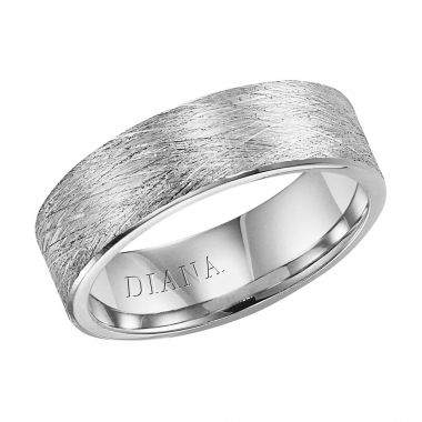 Diana 14K White Gold Comfort Fit Wire Flat Broken Edge Wedding Band